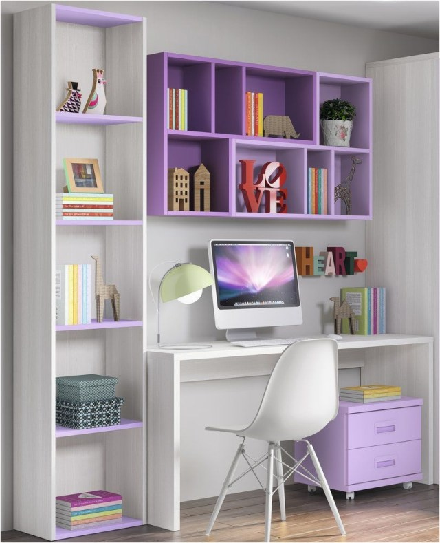 Purple Study Desk With Shelf