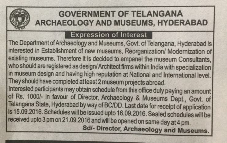 Notice by Telangana State Archeology - Museum Competition