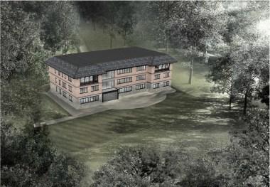 ICIMOD Annexe Building by Horizon Design Studio - Aerial CGI of proposed annexe