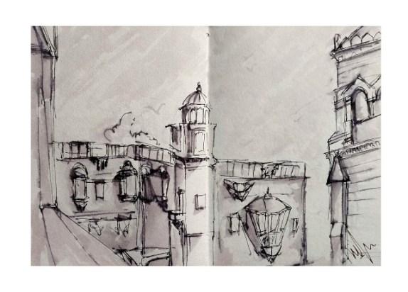 Prag Mahal, BhujTravel Sketches by Nipun Prabhakar