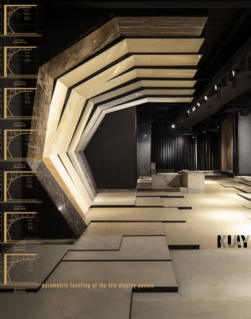 MOFA Studio creates a theatrical monochromatic space for a tile showroom in Gurgaon 2