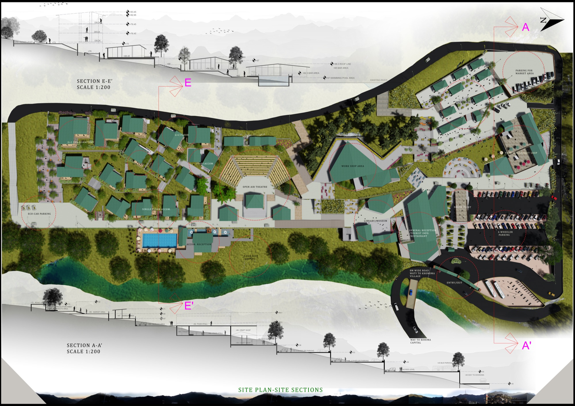 B.Arch Thesis: Eco-Tourist Hub of KHONOMA Village, By Shanjo A. Kithan, ITM University-Gwalior 19