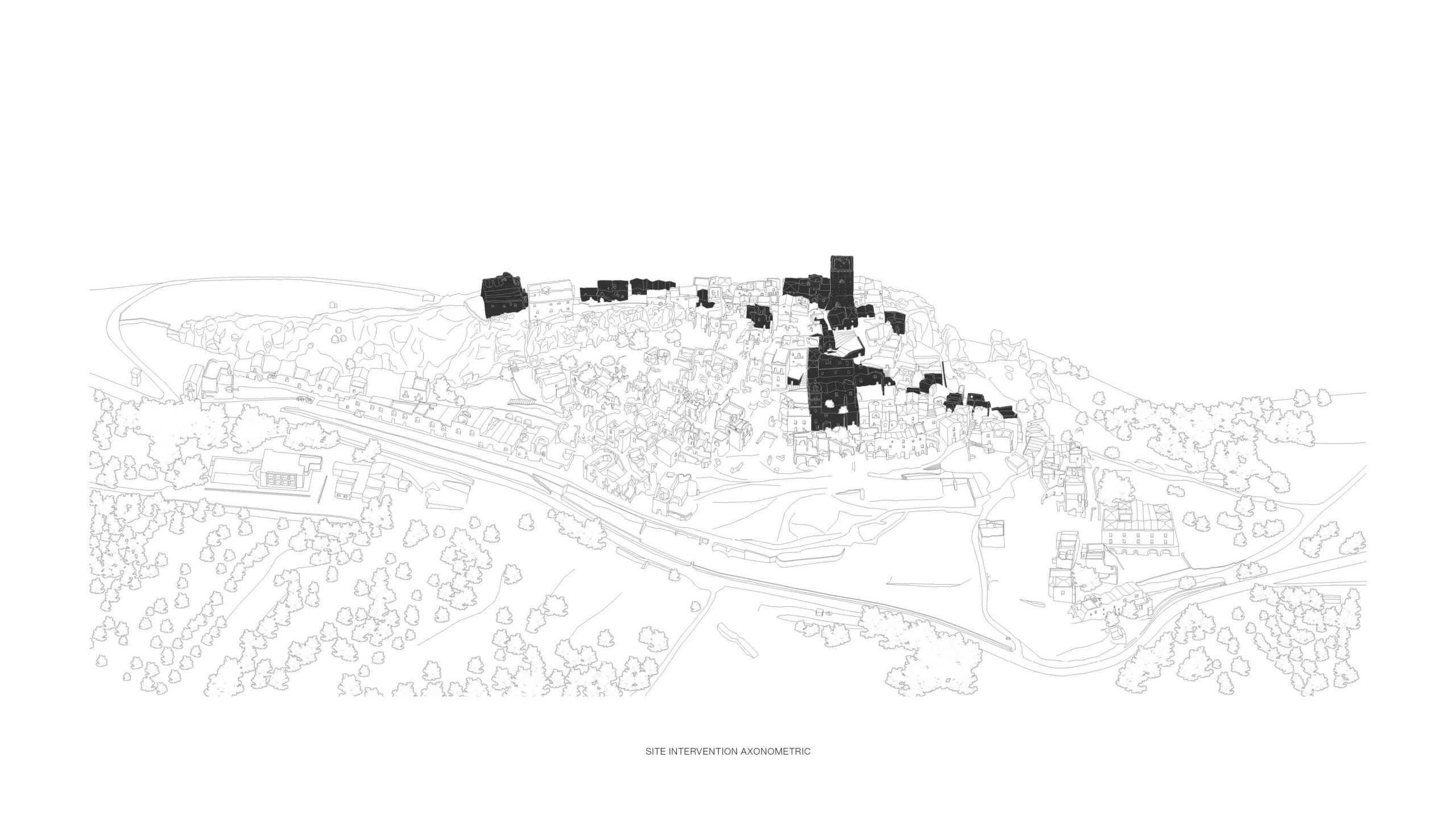 Unbuilt : TRACES - GHOST TOWN REFUGE, at Craco, Italy, by Claudio C. Araya, Yahya Abdullah 1