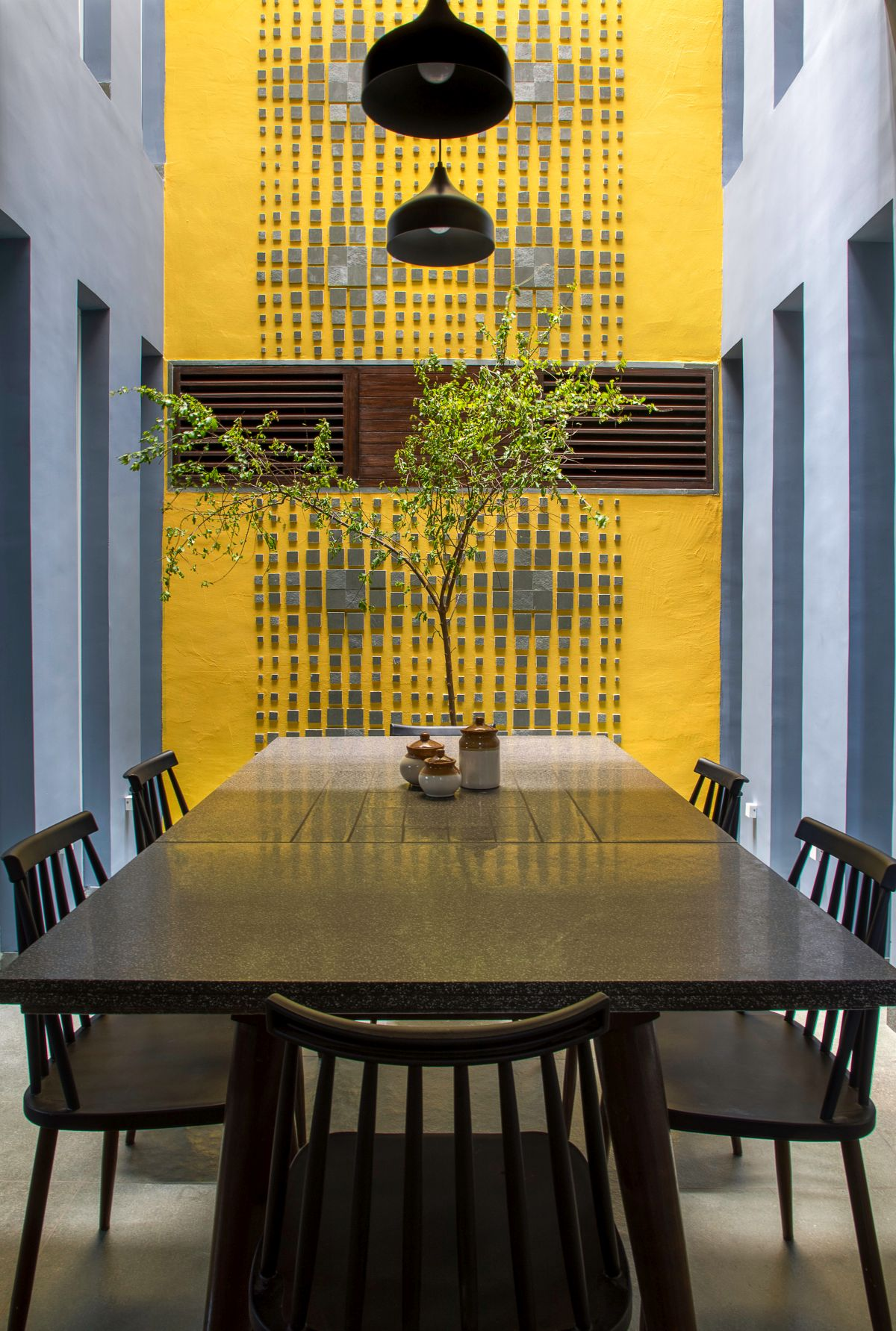 Clay roof tiles façade to minimize heat gain and has decorative function, at Vadodara, by Manoj Patel Design Studio 10