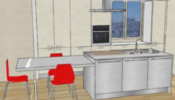 cucina con isola: il piano cottura-architettura a domicilio® - Isola Cucina Distanze