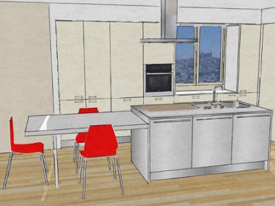 Cucina con isola e tavolo accostato