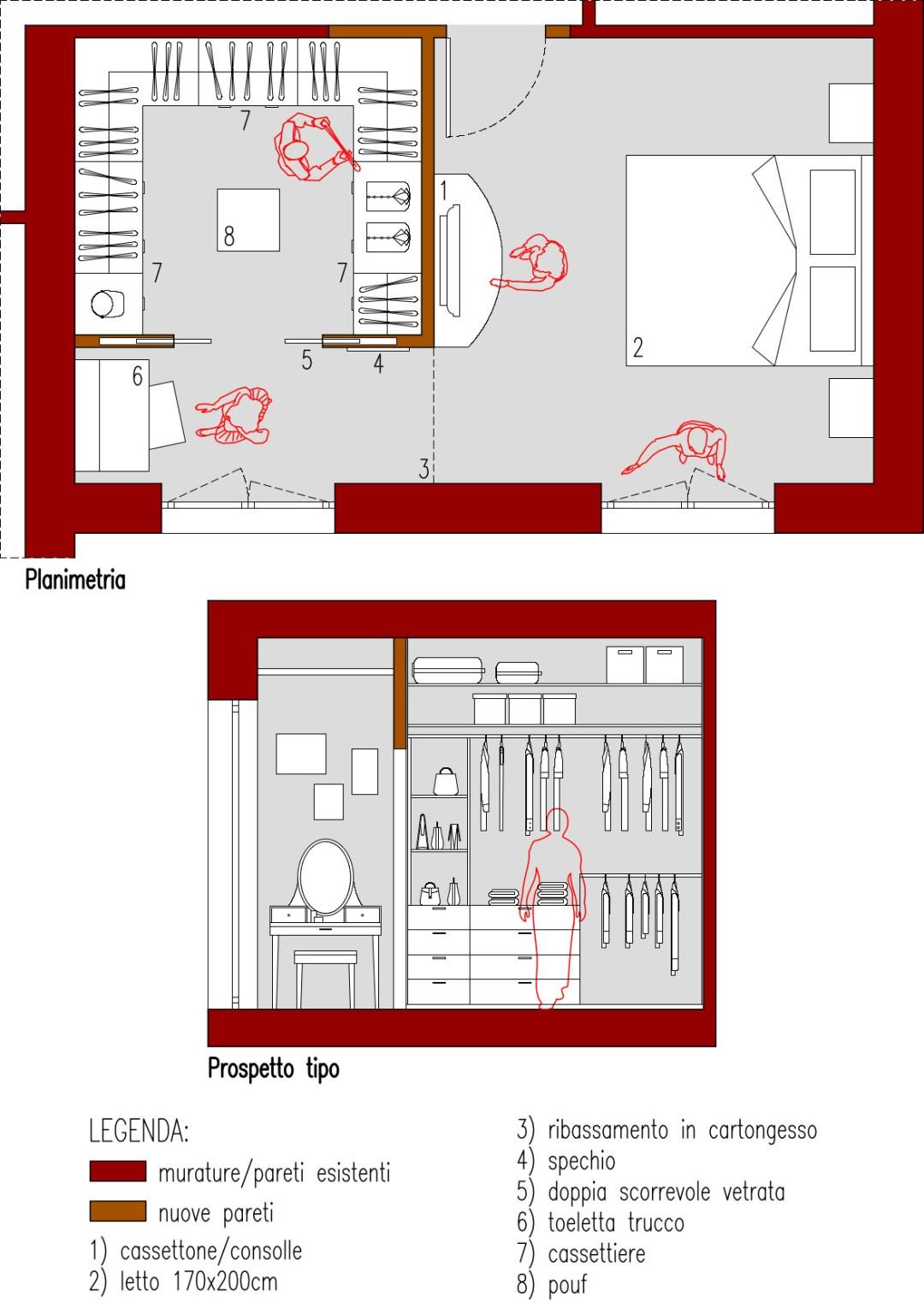 Progetto 25 Mq Cabina Armadio A C Su 3 Lati Architettura A Domicilio