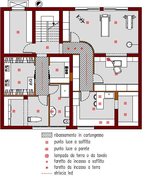 progetto-online-280-mq-palestra-tapis-roulant-sacco-boxe-planimetria-schema-punti-luce-casa-indipendente-piano-interrato