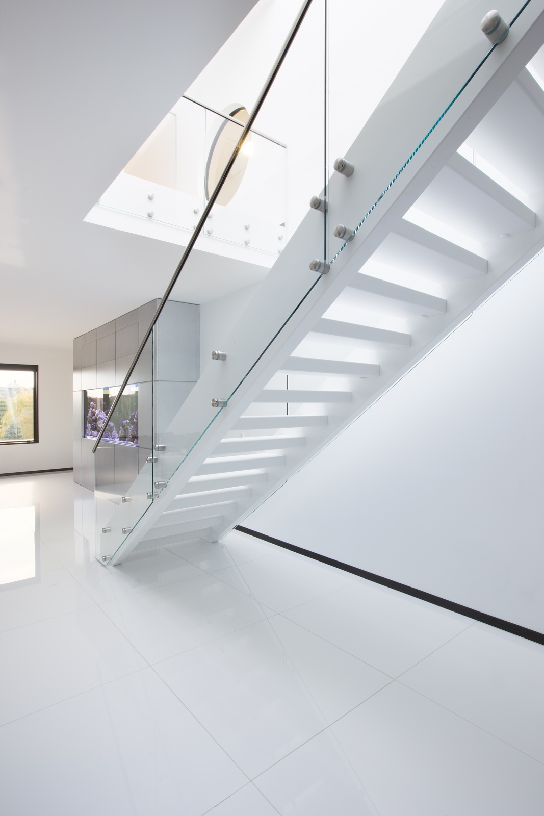 Modern White Staircase Design On Architizer   White And Glass Staircase   Step   Before And After   Handrail   Stained   Oak
