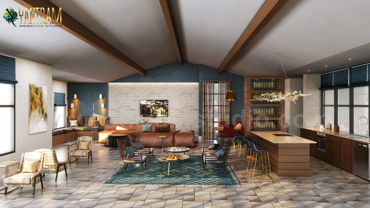 Modern Elegance Clubhouse Rendering 3d Interior Modeling