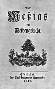 """First page of """"Der Messias"""", by Friedrich Gottlieb Klopstock, 1749"""