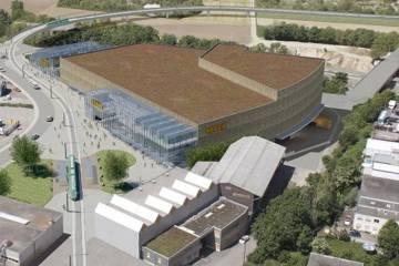 Bau des Anstosses: Der geplante OBI neben dem Z7. (Bild: zVg)