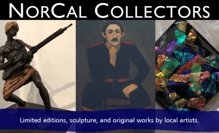 Collectors Corner featuring works by local artists rotating regularly.