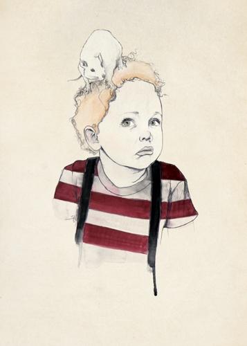 Boy with Rat on Head by Kareena Zerefos
