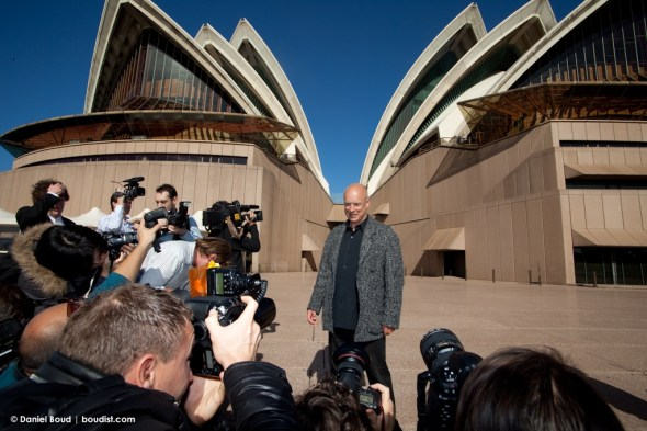 There was quite a scrum of photographers to snap Eno
