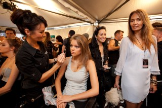 Little Joe designer Gail Elliot oversees the models being made up backstage
