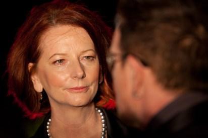 Julia Gillard entranced by the Bono charm forcefield