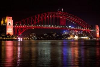 The Sydney Harbour Bridge turned red