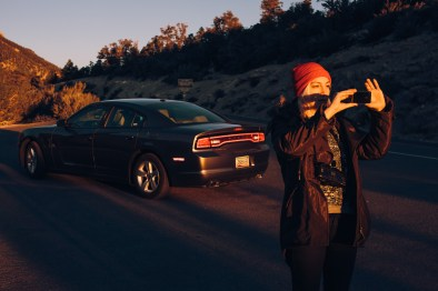 Watching the sunrise with our trusty Dodge Charger