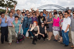 Paramore with a group of Chinese tourists