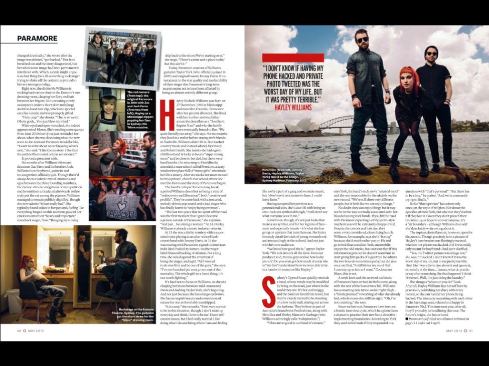 2nd spread of Paramore feature in Q Magazine - screen cap from the iPad edition