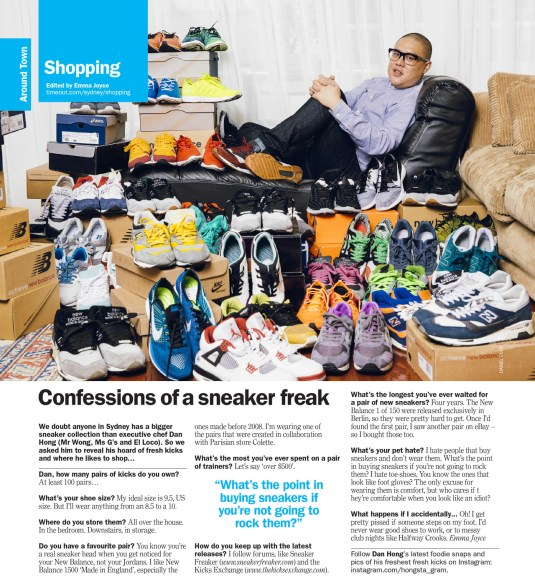 Dan Hong with his sneaker collection