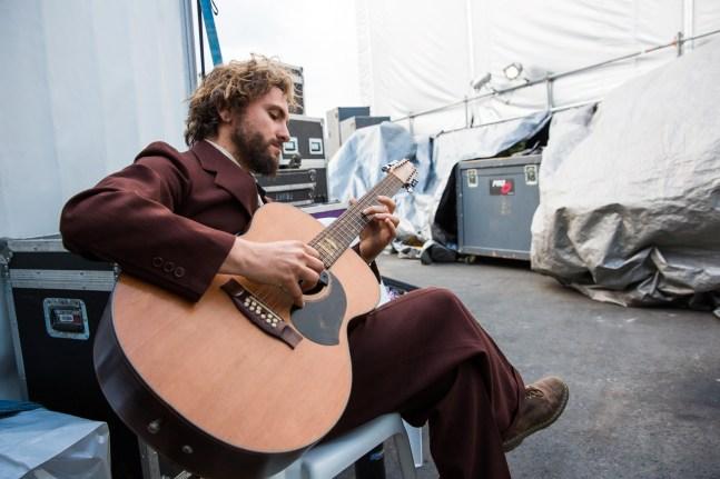 John Butler warms up backstage