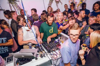 One of the rooms at Faux Mo was a packed little dance party you enter via slippery dip