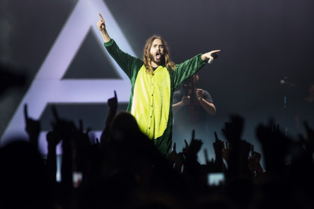 Jared Leto in dinosaur onesie