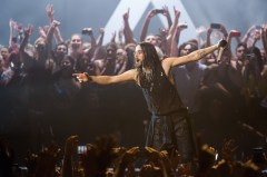 Jared Leto on stage with 30 Seconds to Mars
