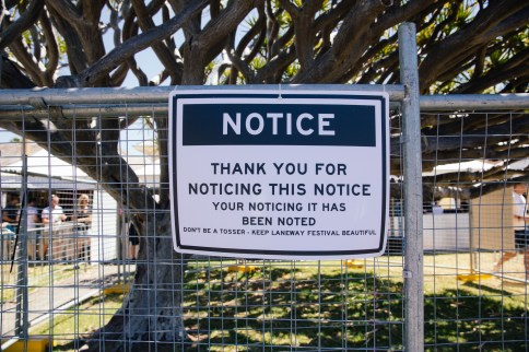 Laneway Festival Notice