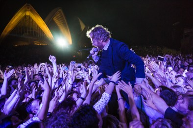 Matt Berninger of The National performs in the crowd