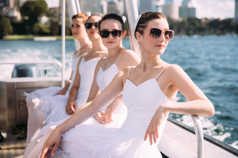 : Swan Lake dancers on Sydney Harbour Sydney Harbour Sydney