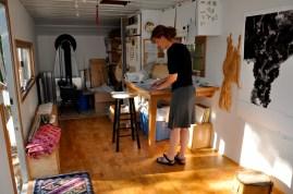 Renee inside her studio workspace./Sabina Poole