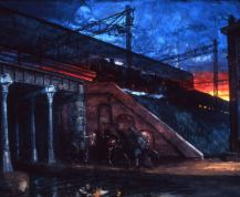 """Henk Pander, """"The Viaduct"""" """"A resistance group shot a collaborator policeman under a nearby viaduct at the train station. Later, my father was forced to walk guard there. The resistance partisans were two young girls, later near the end of the war, they were executed in the dunes after digging their own graves."""""""