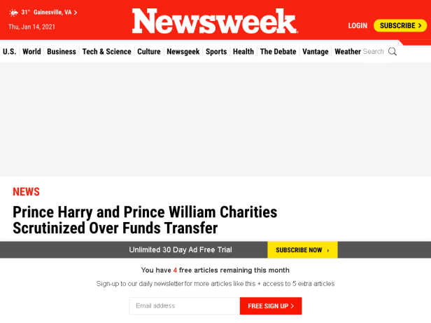 Prince Harry and Prince William Charities Scrutinized Over Funds Tran…