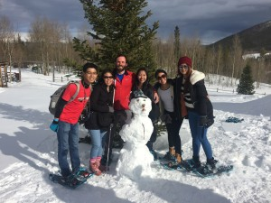 Snowshoeing Extra-curriculars: Building a snowman for the first time.