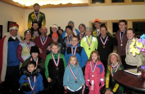 Medal winners of the Saranac Lake Winter Carnival Snowshoe Race.