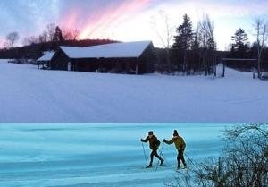 A snowy sunset trek.