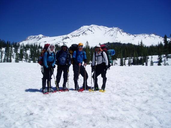 snowshoers on Mount Shasta, California