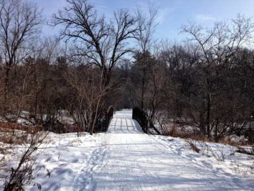 snowshoe 2015 eau claire course and small bridge