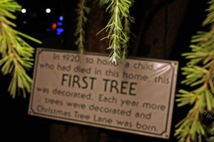 Christmas Tree Lane, located at Van Ness Blvd between Shields Ave and Shaw Ave, was founded in 1920 by a residing family after the death of their child.