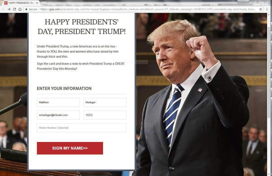 Gop Wants You To Wish Trump A Happy Presidents Day Triblive Com