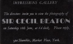 Invitation to the private view of the Cecil Beaton Impressions York Festival exhibition, June, 1973. The invitation was typeset by Andrew Sproxton and printed by him at the Impressions Workshop