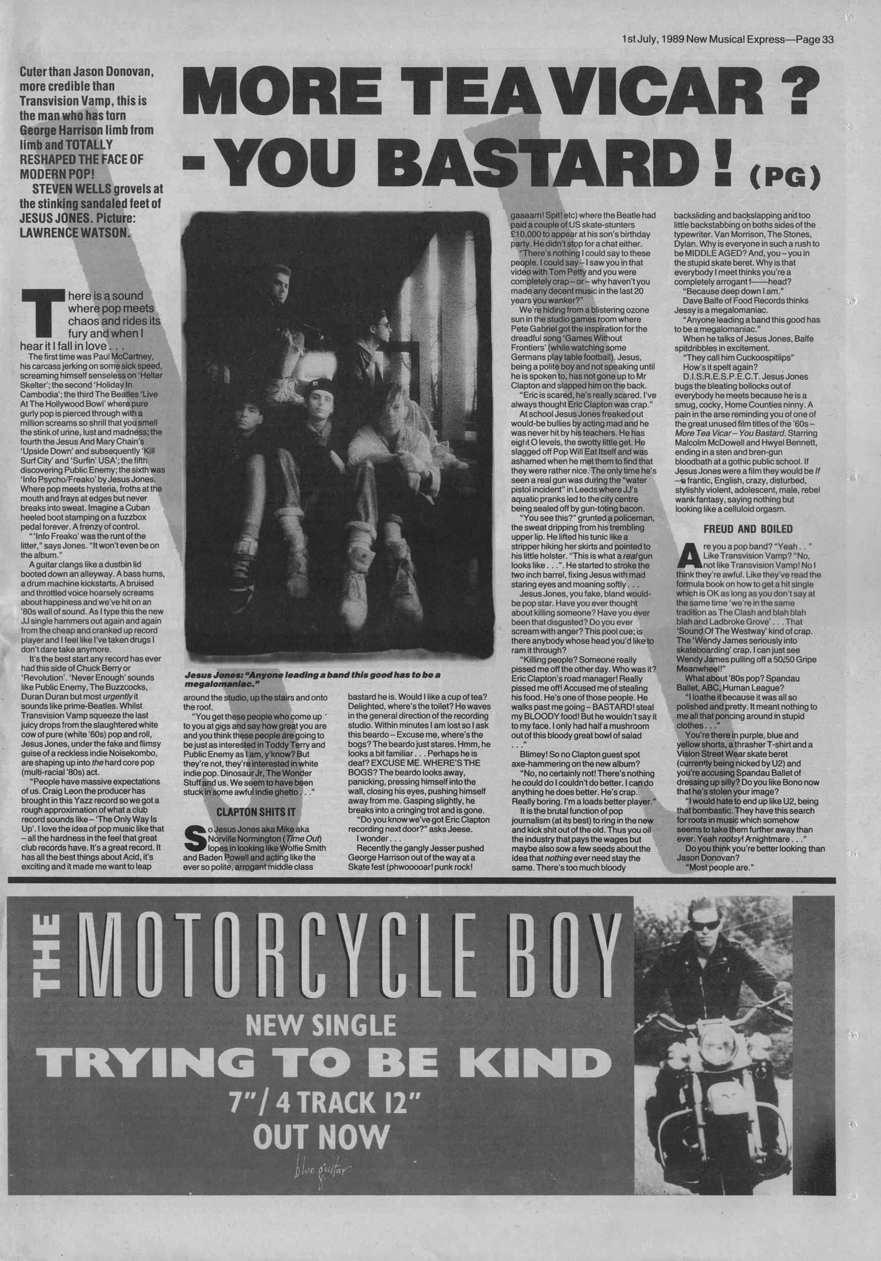 Steven Wells interviews Jesus Jones, 1st July 1989