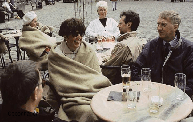 Copenhagen. Outdoor cafes with warm blankets and warmer drinks.- courtesy of Lars Gemzoe