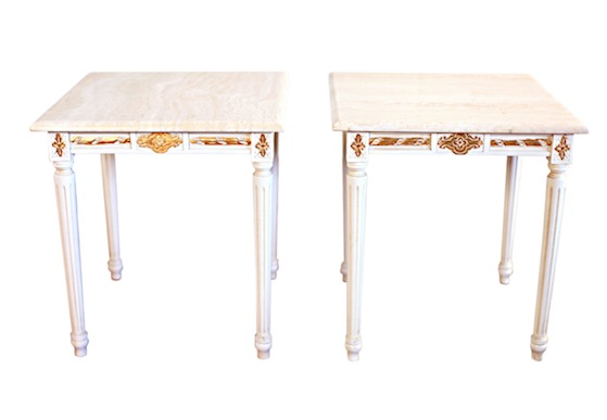 White Wood Side Table With Gilded