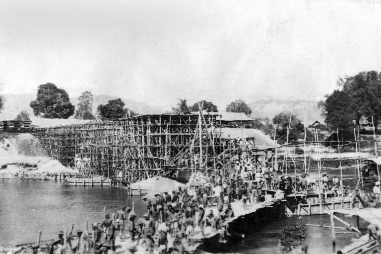 Construction of the infamous Bridge on the River Kwai
