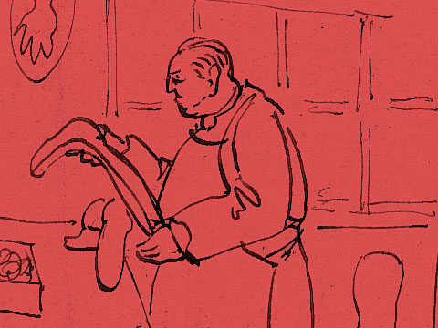 Drury drawing of a surgeon with a plaster cast