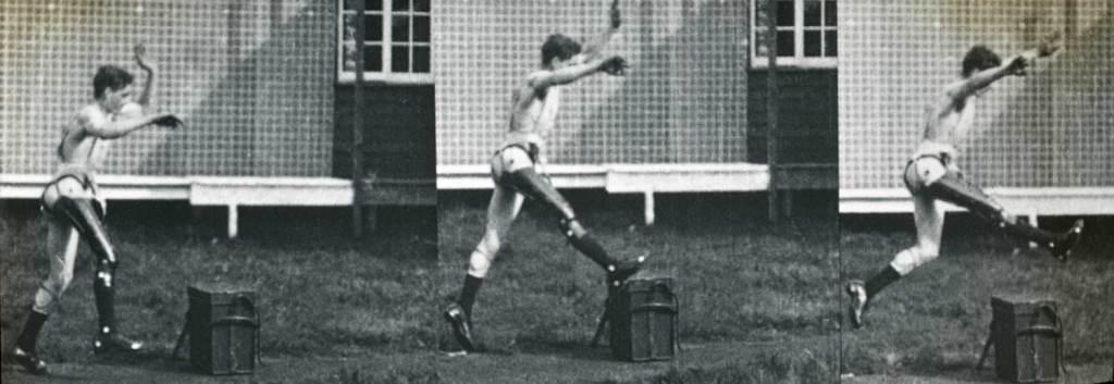 Photograph showing the gait of artificial limbs 1st World War